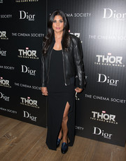 Rachel Roy toughened up her slinky dress with a black leather jacket when she attended the screening of 'Thor: The Dark World' in NYC.