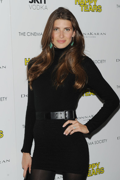 Michelle belted her mini LBD with a black leather belt for the Donna Karan screening of 'Happy Tears.'
