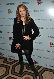 Lea Thompson wore a simple black dress under her coat for the 'Thin Ice' premiere.