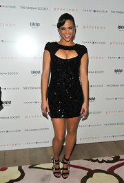 Paula Patton paired her statement dress with a pair of bedazzled evening sandals for the screening of 'Precious.'