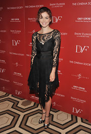 Nora Zehetner looked sweet and romantic at the NY screening of 'Snow Flower and the Secret Fan' in elegant black satin ankle strap sandals adorned with crystals.