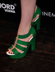 Sami Gayle chose these '70s-inspired platform sandals for her fun and quirky red carpet look.