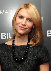 Claire Danes added a bold beaded necklace to her cap sleeve dress.