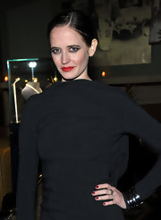 Eva Green polished off her look with deep red nail polish. It was the perfect match for her bright red lipstick.