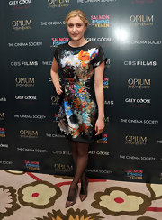 Greta Gerwig wore this colorful print dress to the 'Salmon Fishin in the Yemen' NY premiere.
