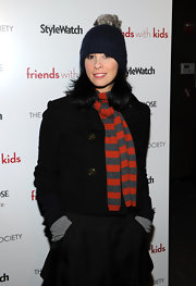 Sarah Silverman bundled up on the red carpet of 'Friends With Kids' in this pompom beanie.