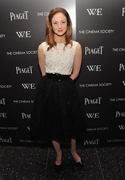 Andrea Riseborough looked sweet in a black-and-white '50s dress with a wide leather belt for the 'W.E.' screening.