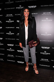 Rachel Roy sported a casual over-sized black blazer at the 'Olympus Has Fallen' screening.