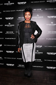 Angela Bassett's leather blazer added an edgy touch to the actress' evening look.