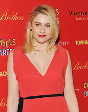 Greta Gerwig was in the mood for color during the 'Damsels in Distress' screening, matching her coral dress with super-red lips.