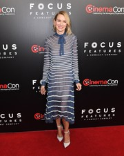 Naomi Watts looked very refined in a blue Valentino cocktail dress with white fringe stripes during CinemaCon 2017.