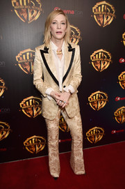 Cate Blanchett gave us '70s vibes with this jacquard pantsuit by Gucci at CinemaCon 2018.