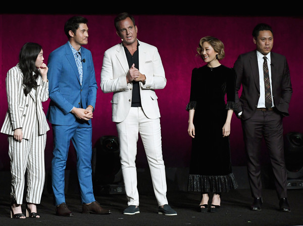 More Pics of Constance Wu Platform Sandals (1 of 8) - Heels Lookbook - StyleBistro [the big picture,warner bros. pictures invites you to,performance,event,performing arts,talent show,stage,suit,music artist,musician,actors,constance wu,awkwafina,henry golding,slate,l-r,cinemacon,convention]