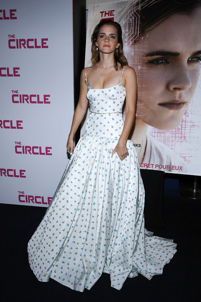 Emma Watson looked magical in a white and blue micro-print ball gown by Miu Miu at the Paris premiere of 'The Circle.'