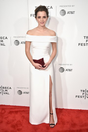Emma Watson was the picture of elegance in a white off-the-shoulder gown by Burberry at the Tribeca Film Fest premiere of 'The Circle.'
