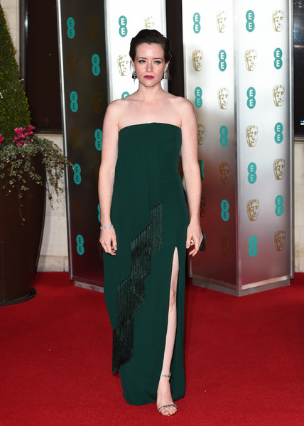Claire Foy Strapless Dress [red carpet,carpet,clothing,dress,shoulder,strapless dress,flooring,premiere,fashion,joint,red carpet arrivals,claire foy,ee,london,england,grosvenor house,british academy film awards gala,british academy film awards gala dinner]