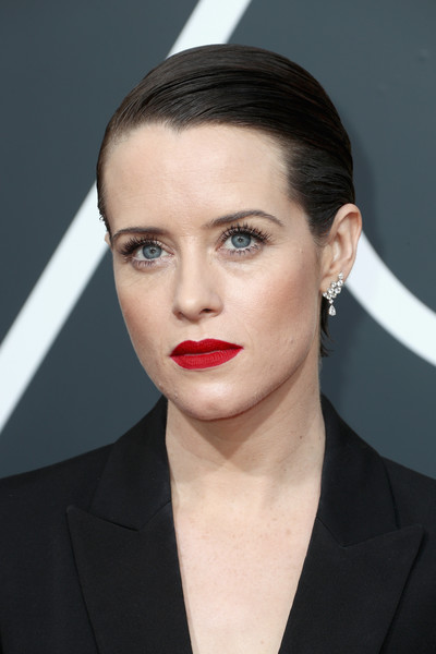 Claire Foy Red Lipstick [hair,face,lip,eyebrow,hairstyle,chin,beauty,forehead,head,cheek,arrivals,claire foy,the beverly hilton hotel,beverly hills,california,golden globe awards,annual golden globe awards]