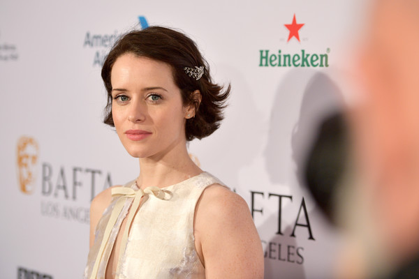 Claire Foy Short Side Part [hair,skin,hairstyle,eyebrow,beauty,chin,fashion,lip,dress,premiere,arrivals,claire foy,los angeles,four seasons hotel,california,beverly hills,bafta,tea party]
