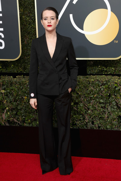 Claire Foy Pantsuit [suit,formal wear,flooring,carpet,tuxedo,gentleman,red carpet,fashion,fashion model,outerwear,arrivals,claire foy,the beverly hilton hotel,beverly hills,california,golden globe awards,annual golden globe awards]