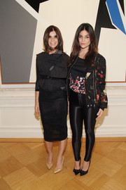 Julia Restoin-Roitfeld went for an edgy-meets-sweet look with this floral motorcycle jacket at the Clare Rojas artist reception.
