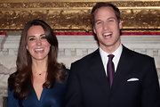 Kate Middleton wore a simple silver necklace with a petite blue bead.