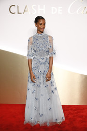 Letitia Wright looked dreamy in a beaded baby-blue gown by Zuhair Murad at the Clash de Cartier launch.