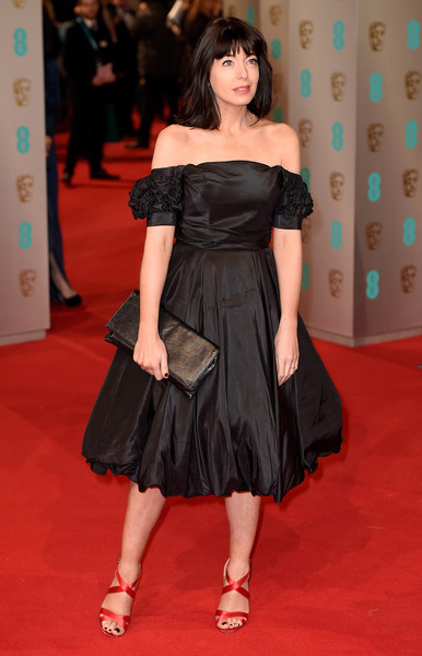 Claudia Winkleman Off-the-Shoulder Dress [clothing,dress,shoulder,carpet,red carpet,flooring,premiere,joint,fashion model,fashion,claudia winkleman,ee,england,london,the royal opera house,red carpet arrivals,british academy film awards]