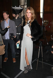 Millie Mackintosh was spotted walking in gray suede boots at the Clements Ribeiro Autumn/Winter 2012 show.