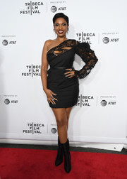 Jennifer Hudson went for a distressed-chic look with this ripped one-shoulder LBD by Saint Laurent at the 'Clive Davis: The Soundtrack of Our Lives' premiere concert.
