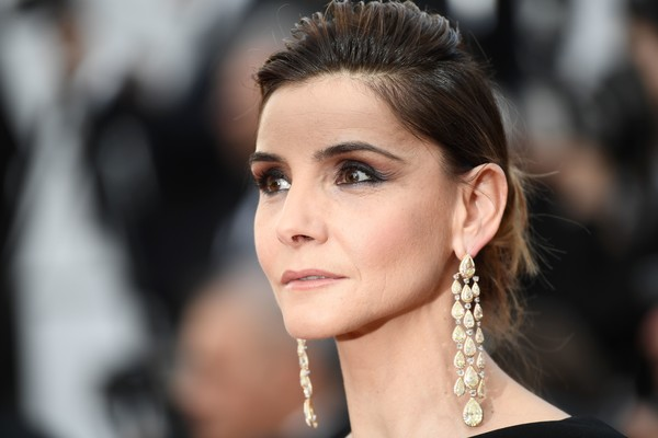 Clotilde Courau Gemstone Chandelier Earrings [the meyerowitz stories,film,photo,hair,face,eyebrow,hairstyle,lip,beauty,skin,chin,nose,fashion,red carpet arrivals,clotilde courau,french,cannes,cannes film festival,screening,edition]