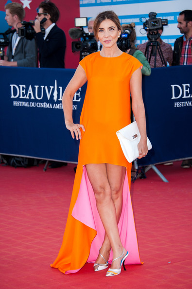 Clotilde Courau Slingbacks [red carpet,clothing,shoulder,dress,fashion model,carpet,orange,premiere,fashion,leg,deauville,france,award ceremony,snowpierce premiere - the 39th deauville film festival,closing ceremony,deauville american film festival,clotilde courau]