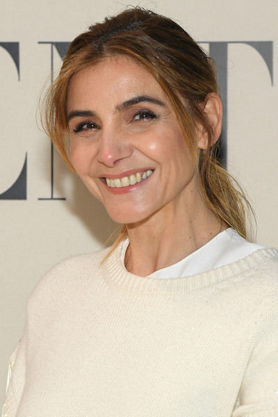 Clotilde Courau Ponytail [hair,face,eyebrow,hairstyle,blond,chin,skin,lip,beauty,shoulder,valentino,clotilde courau,front row,part,paris,france,paris fashion week womenswear fall,show,long hair,hair coloring,hair m,hair,celebrity,layered hair,blond,brown hair,supermodel,color]