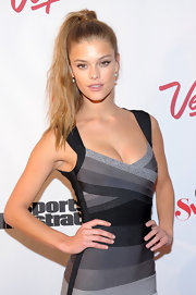 Nina Agdal chose a high ponytail to add some girlie spunk to her look at the Club SI swimsuit event in Las Vegas.