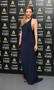 Lydia Rose Bright looked sultry and sophisticated at the same time in a beaded navy halter gown.