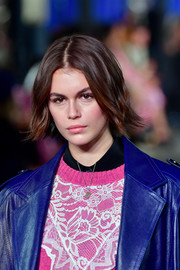 Kaia Gerber's lipstick was a perfect match to her top.