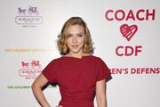 Actress Scarlett Johansson arrives at an Evening of Cocktails and Shopping to Benefit the Children's Defense Fund hosted by Coach at Bad Robot on April 20, 2011 in Santa Monica, California.