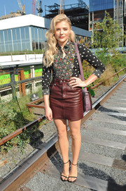 Chloe Grace Moretz's maroon leather mini and floral top were a cute pairing.