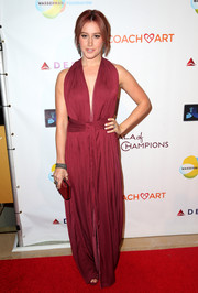 Ashley Tisdale looked divine in a burgundy halter gown by Bec & Bridge at the CoachArt Gala of Champions.