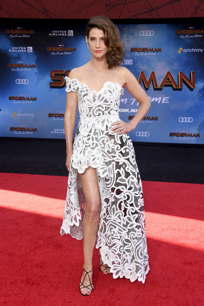 Cobie Smulders Off-the-Shoulder Dress [red carpet,clothing,carpet,shoulder,dress,premiere,fashion model,fashion,flooring,hairstyle,arrivals,cobie smulders,spider-man far from home,tcl chinese theatre,california,hollywood,sony pictures,premiere,premiere]