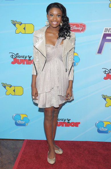 Coco Jones One Shoulder Dress [coco jones,kids,clothing,red carpet,dress,carpet,cocktail dress,footwear,flooring,premiere,long hair,fashion design,new york city,hard rock cafe - times square,disney channel,disney channel worldwide kids upfront]