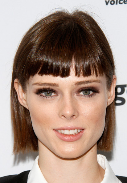 Coco Rocha Short Cut With Bangs [face,hair,eyebrow,hairstyle,bangs,chin,forehead,lip,brown hair,head,coco rocha,office - inside,new york city,bgc,cantor fitzgerald,bgc partners,inc,charity day,annual charity day]