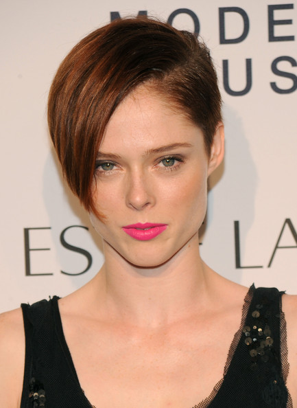 Coco Rocha Short Side Part [hair,face,hairstyle,eyebrow,chin,lip,shoulder,forehead,brown hair,blond,estee lauder,coco rocha,arrivals,modern muse fragrance,new york city,guggenheim museum,launch party,modern muse fragrance launch party]