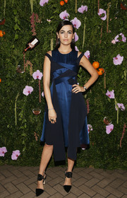 Camilla Belle opted for a modern Adeam cocktail dress in two shades of blue when she attended the Cosmopolitan and the Art of La Soiree celebration.