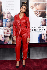 Shanina Shaik attended the world premiere of 'Collateral Beauty' looking oh-so-hip in a red leather jumpsuit.