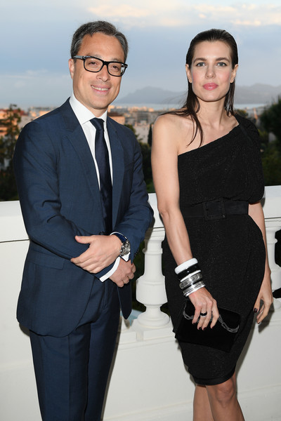 Charlotte Casiraghi styled her look with a variety of chunky bangles.