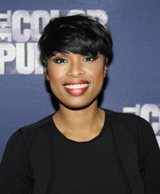 Jennifer Hudson rocked emo bangs during the 'Color Purple' listening party.