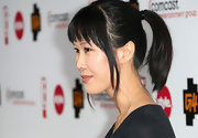 Laura Ling swept her raven locks up in a sleek ponytail for the TCA cocktail reception.
