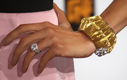 Giulana shows off her blinging diamond engagement ring against her lovely pink dress at the TCA Party.