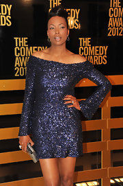 Aisha Tyler showed off her shoulders in this sequined shift dress at the Comedy Awards.