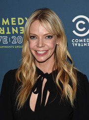 Riki Lindhome wore soft waves with parted bangs when she attended the Comedy Central Live Upfront after-party.